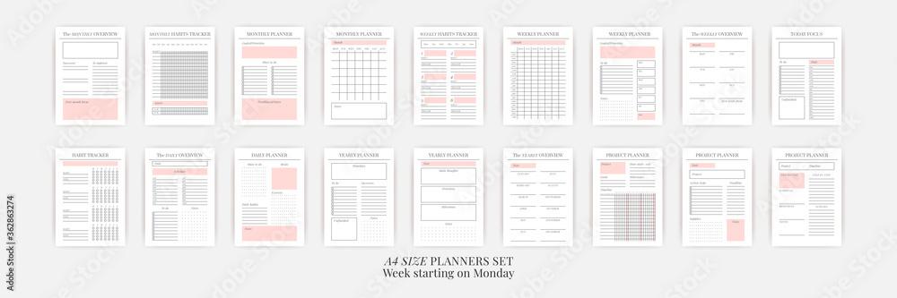 Fototapeta Planner sheet vector. Printable vertical notebook page - obraz na płótnie