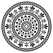 Greek Vector Boho Mandala Design With Key Pattern, Flowers And Swirls, Monchrome Yoga Pattern
