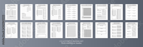 Obraz Planner sheet vector. Printable vertical notebook page - fototapety do salonu