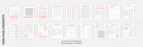 Fototapeta Planner sheet vector. Printable vertical notebook page obraz
