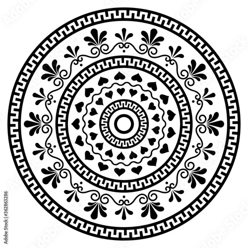 Photo Greek vector boho mandala design with key pattern, flowers and swirls, monchrome