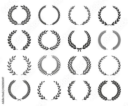 Canvas-taulu Set of black and white silhouette laurel foliate wreaths depicting an award, achievement, heraldry, nobility
