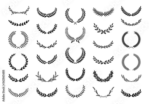 Tablou Canvas Collection of different black and white silhouette circular laurel foliate, wheat and oak wreaths depicting an award, achievement, heraldry, nobility