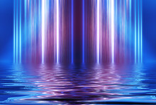 Abstract Dark Futuristic Background. Neon Rays Of Light Are Reflected From The Water. Background Of Empty Stage Show, Beach Party. 3d Illustration