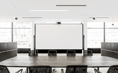 Empty Chairs And Conference Table In Board Room