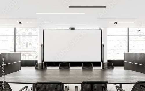 Empty Chairs And Conference Table In Board Room Poster Mural XXL