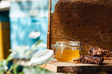 Jar Of Fresh Honey With Assort...