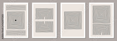 Obraz Trendy set of abstract creative minimalist artistic hand drawn composition - fototapety do salonu