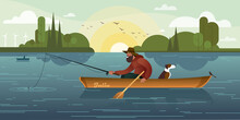 A Bearded Fisherman In A Hat And A Dog In A Boat Are Fishing With A Fishing Rod. Summer Scenes On The Lake. Flat Graphic Vector Illustration.