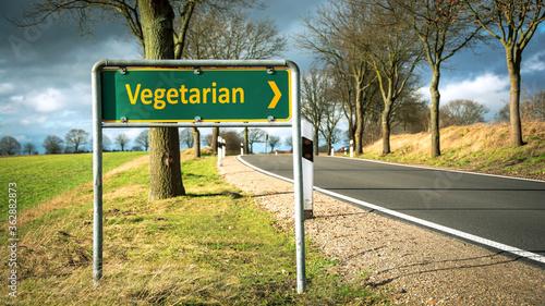 Obraz na plátně Street Sign to Vegetarian