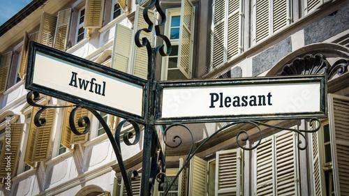 Fotografie, Obraz Street Sign Pleasant versus Awful