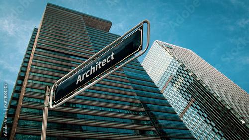 Fotografie, Obraz Street Sign to Architect
