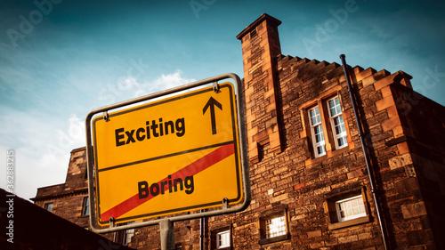 Fototapeta Street Sign Exciting versus Boring