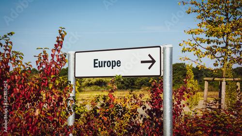 Fotografie, Obraz Street Sign to Europe