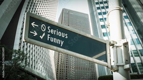 Fototapeta Street Sign Funny versus Serious