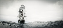 Pirate Ship Sailing On Stormy Ocean.