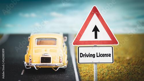 Fotografie, Obraz Street Sign DRIVING LICENSE