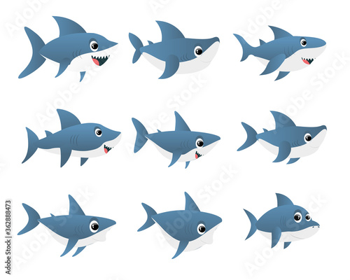 Blue shark cartoon character Fotomurales