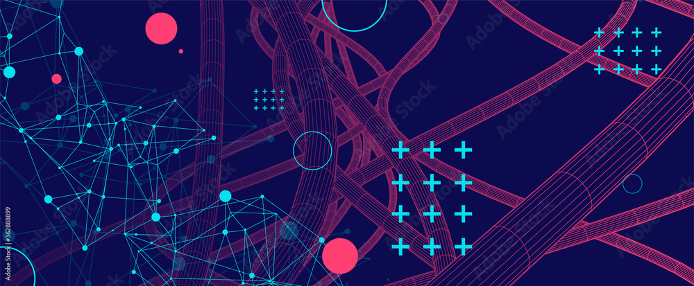 Fototapeta Vector abstract background with a wireframe dynamic pipes, line and particles. Plexus effect.