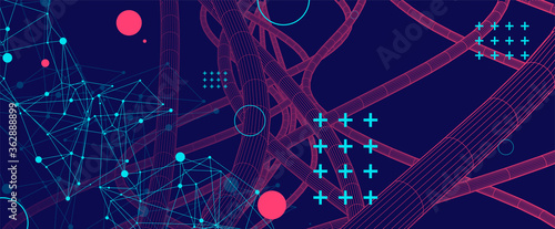 Fotografija Vector abstract background with a wireframe dynamic pipes, line and particles