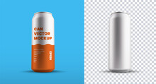 Vector Big Tin Can Template For Drink Or Water, Isolated On Background, Set Of Aluminum Containers With Juice Or Beer.
