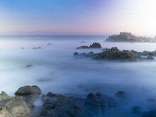 Long Exposure Photograph Of The Pacific Ocean With Motion Blur And A Surreal Effect.