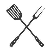 Grill Tools Icon. Crossed Barb...
