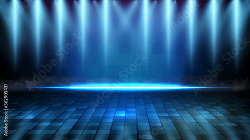 abstract futuristic background of blue empty stage and neon lighting spotlgiht stage background