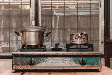 Close-up Of Old Rusty Gas Stove