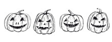 Halloween Pumpkins Set. Hand Drawn Illustration.