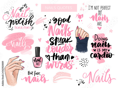 Nails and manicure set with woman hands, handwritten lettering, phrases, Inspira Canvas Print