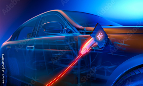 Photo E-mobility, blue electric car charging battery - 3d illustration
