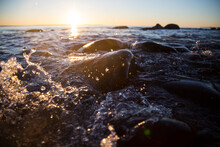 Closeup Of Sea Waves Braking O...