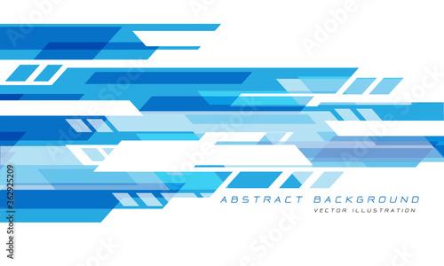 Obraz Abstract blue white geometric speed technology futuristic design background vector illustration. - fototapety do salonu