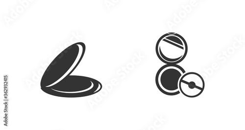 Fototapeta female powder and brush colorful icon set. powder cosmetics icon obraz na płótnie