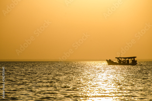 Silhouette Boat In Sea Against Clear Sky During Sunset Tapéta, Fotótapéta