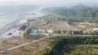 aerial view of the Kamijoro dam in the morning. Yogyakarta Indonesia
