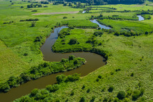 Aerial View Of Meander Of The Wieprz River Near Krasnystaw In Poland.