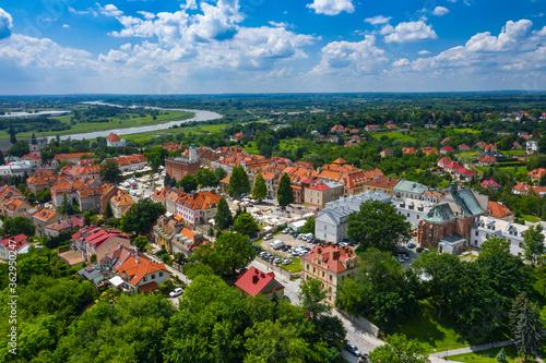 Fototapeta Sandomierz, Poland. Aerial view of medieval old town with town hall tower, gothic cathedral. obraz na płótnie