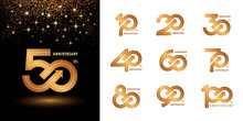 Set Of 10 To 100 Anniversary Logotype Design, Years Celebrate Anniversary Logo
