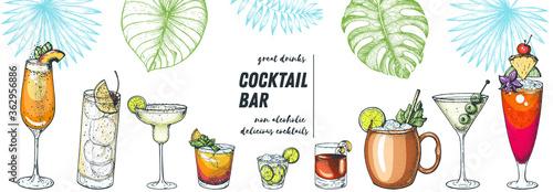 Alcoholic cocktails hand drawn vector illustration. Cocktails and palm leaves set. Menu design elements. Summer bar menu.