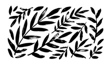Plant Branches With Leaves Black Paint Vector Illustrations Set. Hand Drawn Foliage Branch And Twigs Silhouettes Isolated On White Background. Monochrome Botanical Design Elements, Dry Brush Strokes