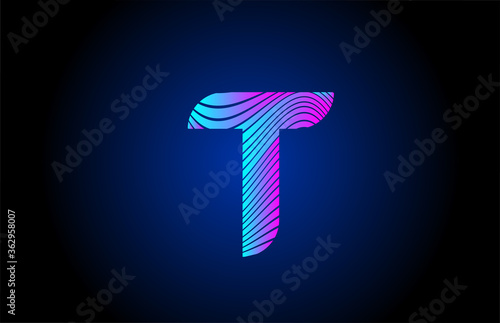 Fotografía T pink blue alphabet letter logo icon for company design