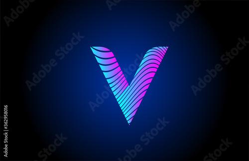 Fotomural V pink blue alphabet letter logo icon for company design