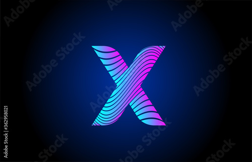 Cuadros en Lienzo X pink blue alphabet letter logo icon for company design