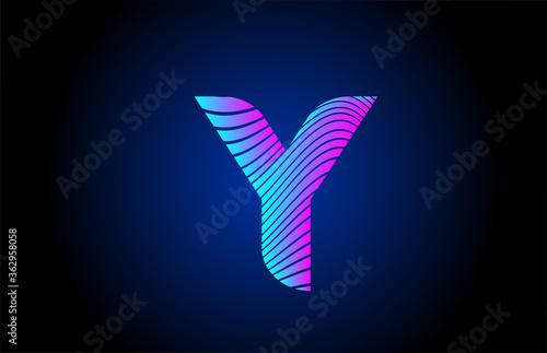 Fotografía Y pink blue alphabet letter logo icon for company design