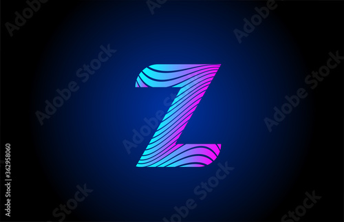 Fotomural Z pink blue alphabet letter logo icon for company design