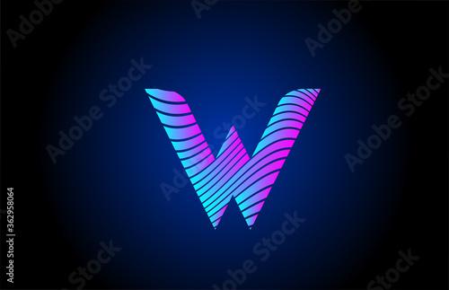 Cuadros en Lienzo W pink blue alphabet letter logo icon for company design