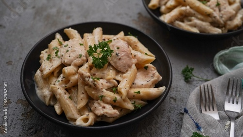 Photo Homemade Chicken alfredo , selective focus