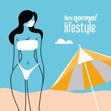 Girl With Mask And Bikini In Summer